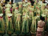 Temple Offerings  Banten Tegeh  at Pura Samuan Tiga Bedulu  Gianyar  Indonesia