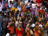 Devotees Arriving at Thai Pusam Festival  Palani  India
