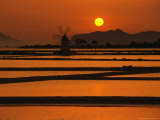 Sunset Over the Saltpans and a Windmill on San Pantaleo  Sicily  Italy