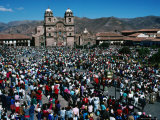 Crowds of People in Plaza De Armas  During Coprus Christi Procession  Cuzco  Peru