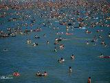 Crowds in Water of Resort Town Beach  Qingdao  Shandong  China