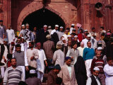 Worshippers Leaving Mosque After Friday Prayers at Jamid Masjid Mosque  Delhi  India