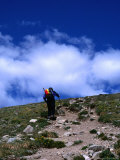 Climber Heading to the Summit of Mt Elbert  Colorado  USA