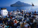 People on Board Inter-Island Ferries  Sicily  Italy