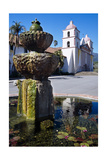 Fountain and Mission Santa Barbara California