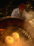 Dim Sum Siew Loong Pau (Or Steamed Shanghai Dumplings) Cooking in Street Stall  Shanghai  China