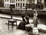 A Woman Weeps at the Roadside Beside Her Worldly Treasures  WWI  Antwerp  Belgium  August 1914