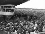 The Graf Zeppelin Airship at Hanworth Aerodrome Surrounded by Onlookers  1931