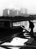 Industrial Scene with Canal and Long Boat  1971