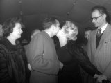 Marilyn Monroe Kisses Sir Laurence Olivier Farewell  Leaving with Her New Husband Arthur Miller