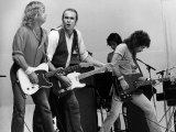 Status Quo Pop Group on Stage at Live Aid Concert 1985  Wembley Stadium