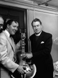 Bill Haley with the Bishop of Woolwich Rt Rev Ronald Stannard at the Davis Theatre  Croydon