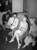 Marilyn Monroe with Her New Husband Arthur Miller and Vivien Leigh at a Press Conference  July 1956