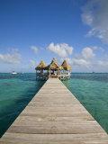 Belize  Ambergris Caye  San Pedro  Ramons Village Resort Pier and Palapa