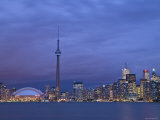 CN Tower and Toronto Skyline at Dusk  Toronto  Ontario  Canada