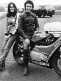 David Essex with Christina Raines on Motorcycle