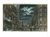 Binghamton  New York - Northern View of Chenango Street at Night