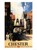 Chester  England - Street View with Couple and Tower Clock Rail Poster
