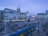 Croatia  Zagreb  Trg Josip Jelacica Square  Trams