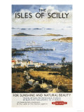 Isles of Scilly  England - Aerial Scene of Town and Dock Railway Poster