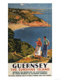 Guernsey  England - Southern/Great Western Rail Couple on Cliff Poster