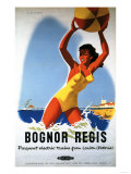 Bognor Regis  England - British Railways Girl and Beachball Poster
