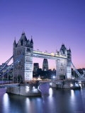 Night View of Tower Bridge and Thames River  London  England