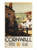 Cornwall  England - Street Scene with Two Men Working Railway Poster
