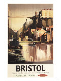 Bristol  England - Clifton Suspension Bridge and Boats British Rail Poster