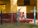 Young Girl and Indian Crosses  San Cristobal de Las Casas  Chiapas Province  Mexico