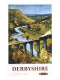 Derbyshire  England - Monsal Dale  Train and Viaduct British Rail Poster