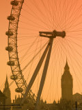 London Eye and Big Ben  South Bank  London  England
