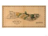 Hawaii - Panoramic Molokai Island Map