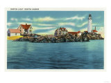 Boston  Massachusetts - View of Boston Harbor and Boston Lighthouse
