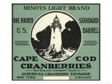 Cape Cod  Massachusetts - Minots Light Brand Cranberry Label