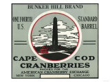Cape Cod  Massachusetts - Bunker Hill Brand Cranberry Label