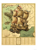 France Represented as a Ship - Panoramic Map