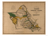 Hawaii - Panoramic Oahu Island Map