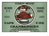Cape Cod  Massachusetts - Turkey Brand Cranberry Label