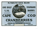 Cape Cod  Massachusetts - Plymouth Rock Brand Cranberry Label