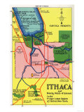 Ithaca  New York - Detailed Map Postcard of Ithaca and Nearby Points of Interest