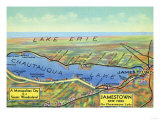 Chautauqua Lake  New York - Aerial Map of Lake and Surrounding Towns