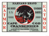 Cape Cod  Massachusetts - Harvard Eatmor Cranberries Brand Label