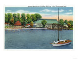 Chautauqua Lake  New York - View of Midway Park Beach and Pavilion