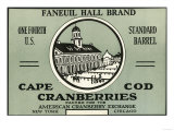 Cape Cod  Massachusetts - Faneuil Hall Brand Cranberry Label