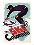 Colorado - Black and Purple Clothed Skier Skiing Colorado Poster
