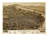 Chattanooga  Tennessee - Panoramic Map