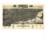 Davenport  Iowa - Panoramic Map