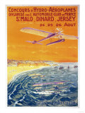 Brittany  France - View of Float Planes in Air and Water Poster
