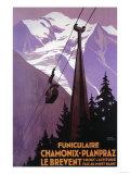 Téléphérique du Brévent. Chamonix - Mont Blanc, France. Reproduction d'art par Lantern Press